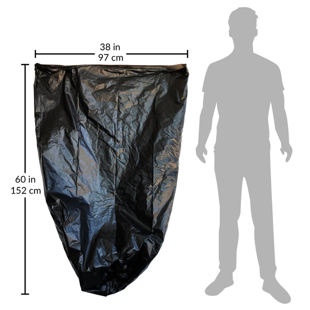 "garbage bags sized at 38x60"" with 55 gallon to 60 gallon trash bag capacity"