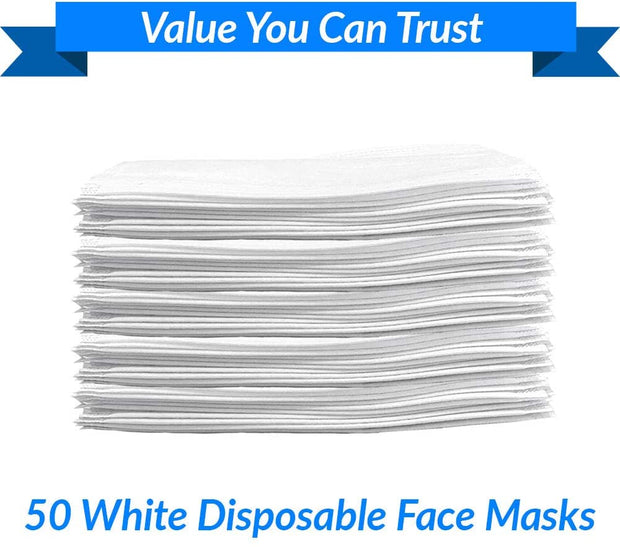 White Disposable Face Masks - 50 Masks - FDA Registered