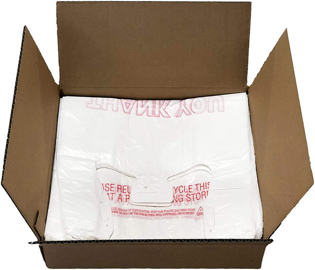 Thank You T-Shirt Bags - 1000 Count - White