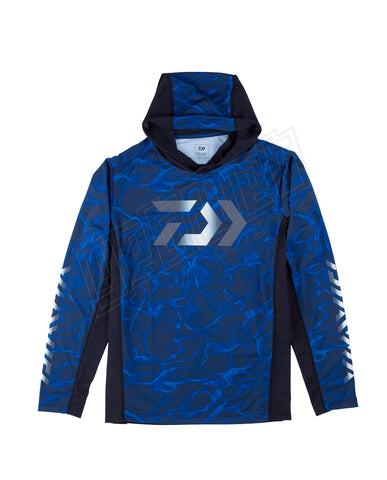 Daiwa Splash Fishing Shirt With Hood Blue