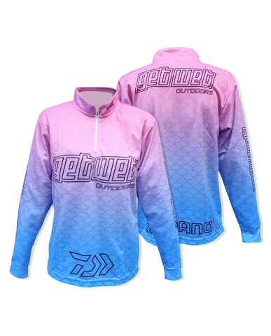 Women's Long Sleeve Fishing Shirts Blue Pink Scale