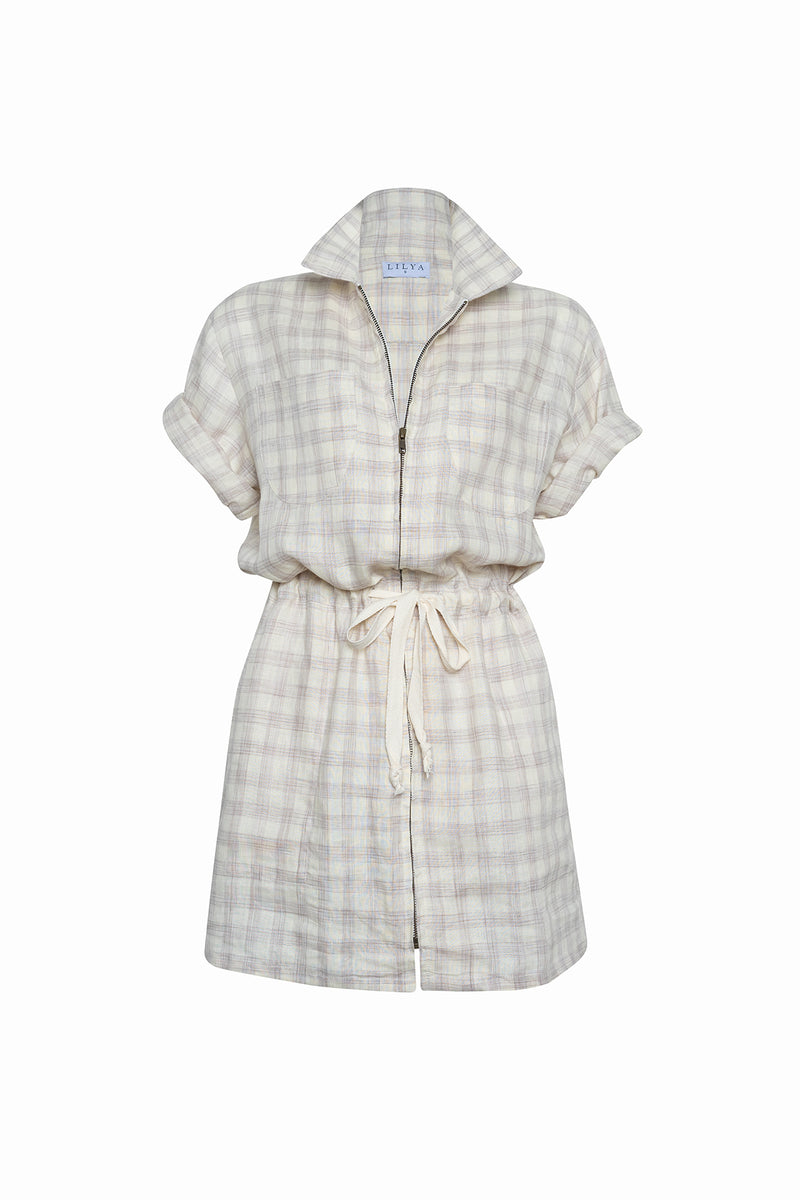 Women's check linen dress with a zipper by Lilya