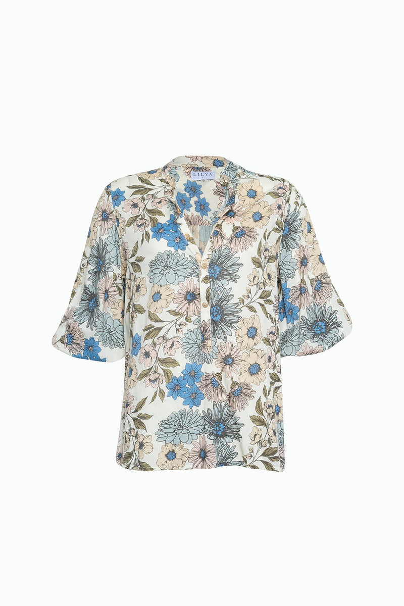 A floral casual blouse with buttons by Lilya