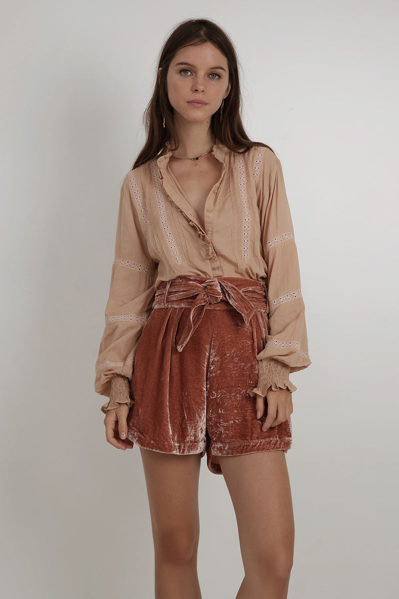 Dana Velvet Short - Burnt Sienna