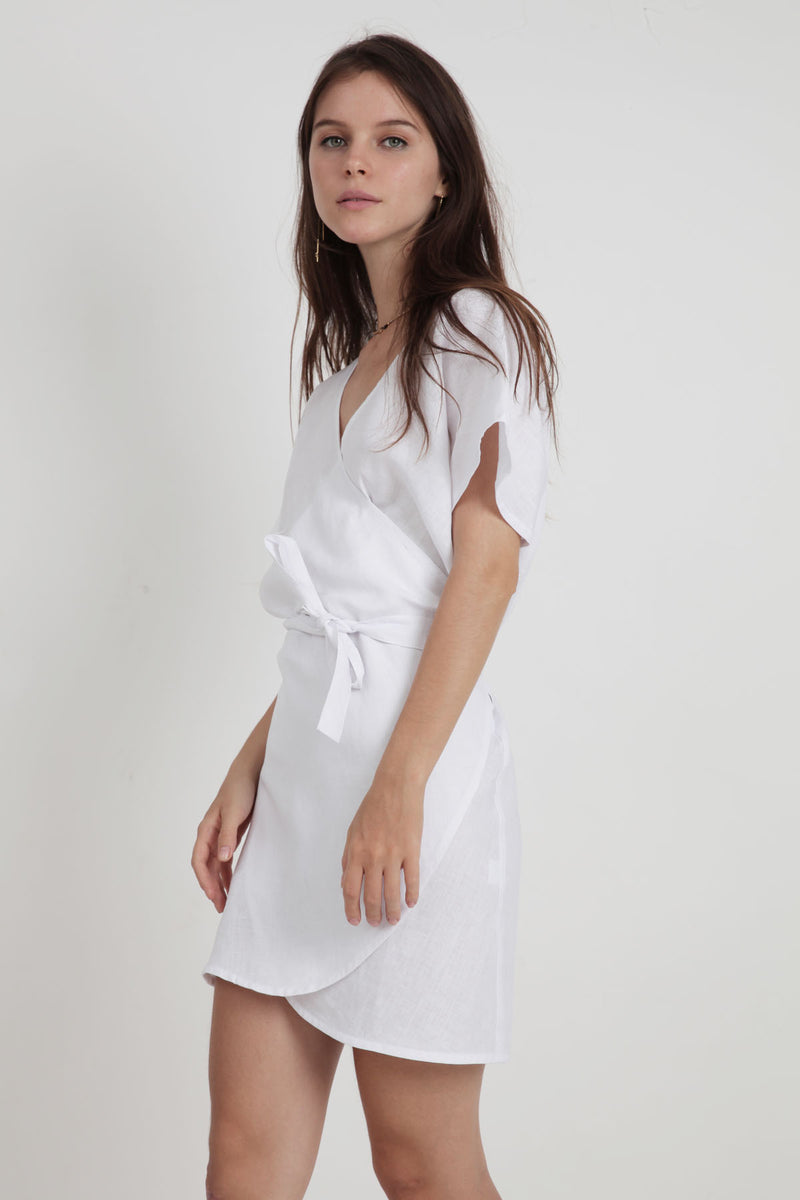 Roni Linen Mini Dress - White