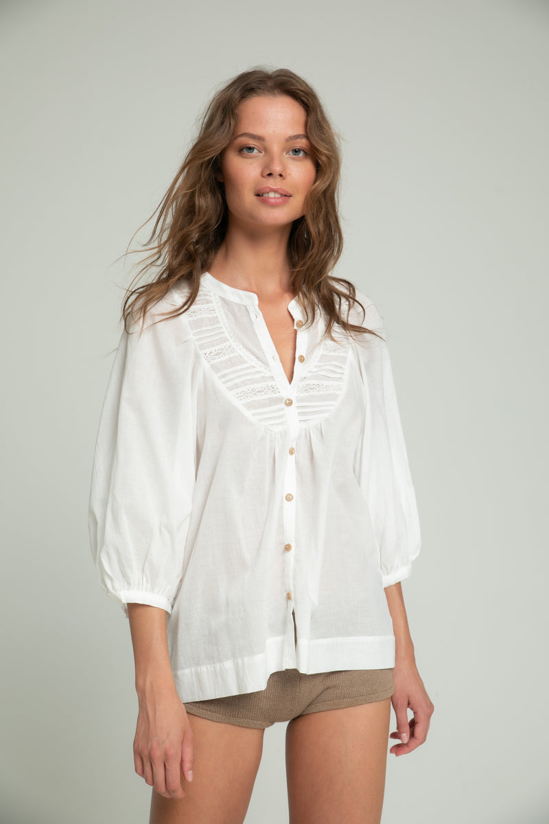 Lucy Cotton Top - Ivory