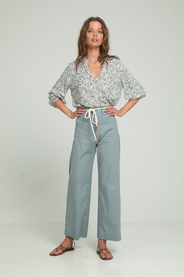 Cotton high waisted pants for summer by Lilya