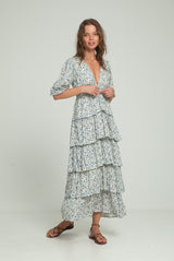 Sahara Frill Dress - Indian Blues