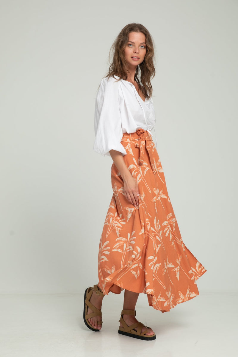 A woman in a hawaiian wrap skirt for summer by LIlya