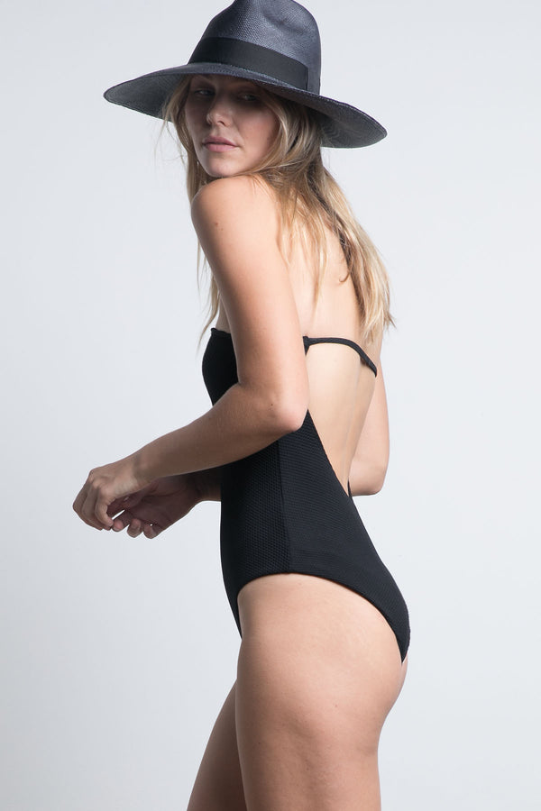Yucca Strapless One Piece - Black Honeycomb