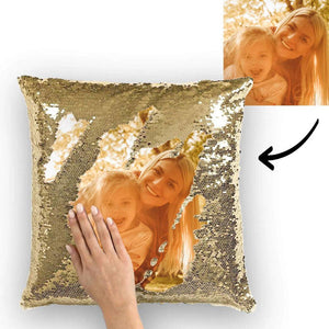 Mermaid Customized Gold Sequins Photo Pillow