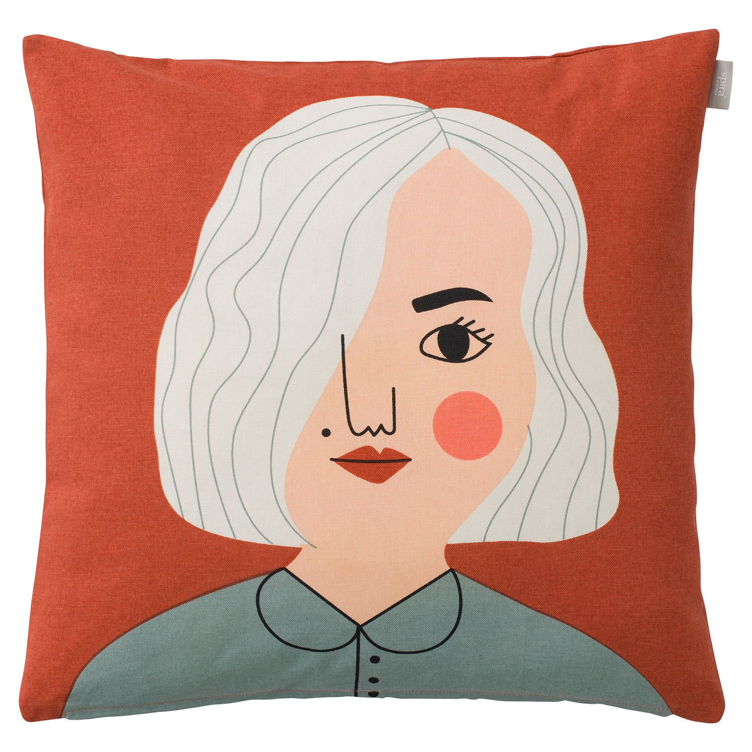 Handprinted cotton cushion cover