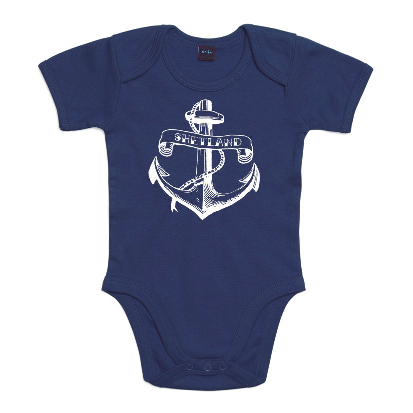 Anchor Print Baby Vest Navy