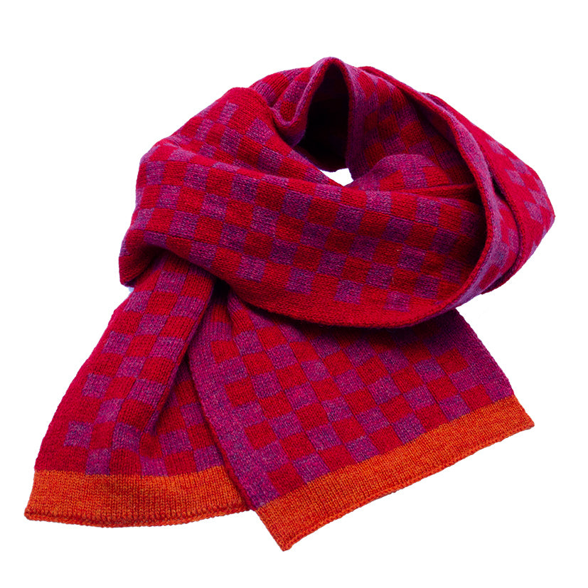 Shetland Checked Scarf red