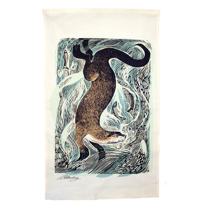 Otter tea towel by Angela Harding