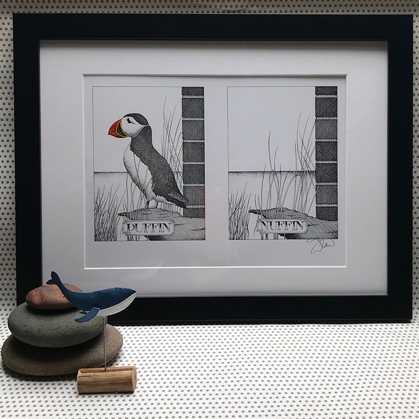 'Puffin Nuffin' Signed Print by Simon Drew