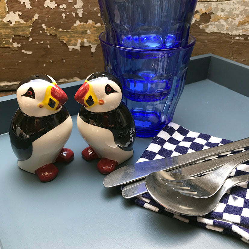 Ceramic Puffins Salt and Pepper Shakers
