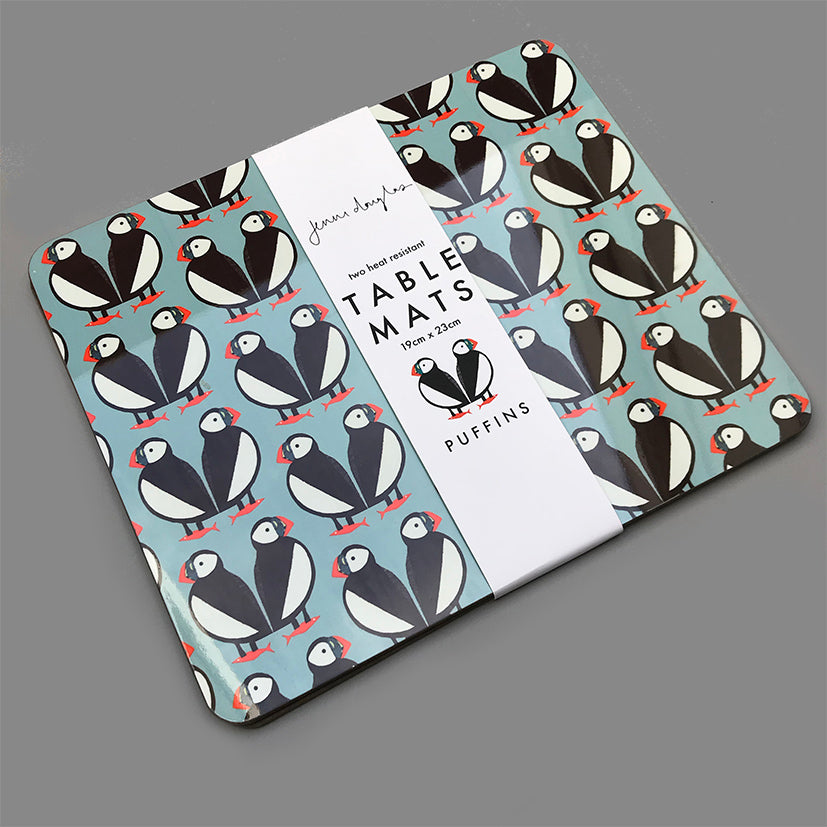 Set of 2 puffin place mats