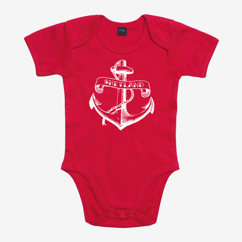 Anchor Print Baby Vest Red