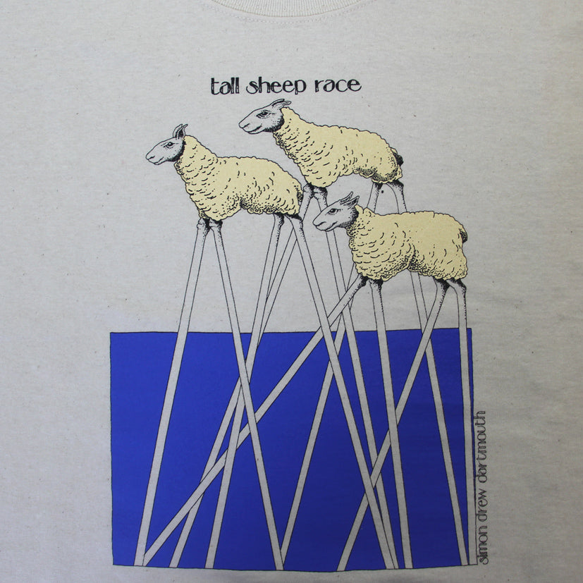 'Tall Sheep Race' T-Shirt by Simon Drew