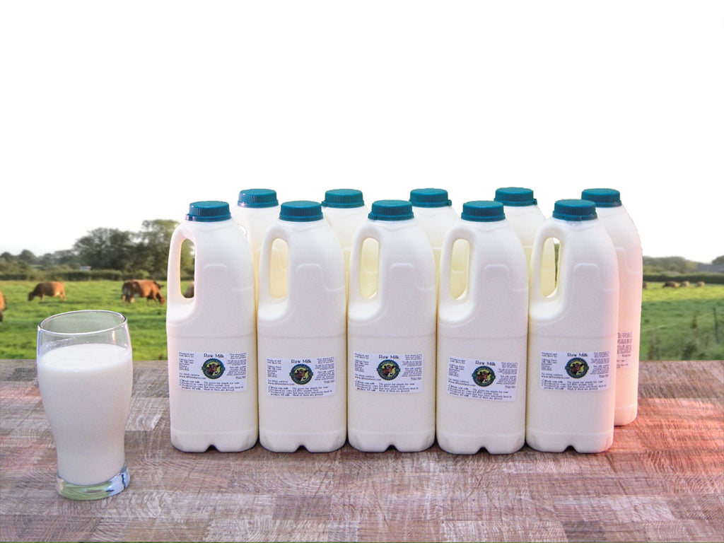 10 bottles of raw milk (20 pints / 11.37 litres) L