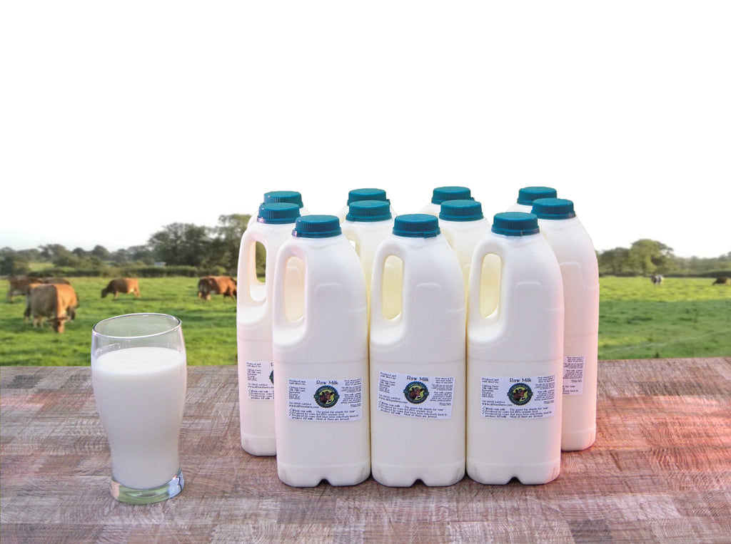 11 bottles of raw milk (22 pints / 12.5 litres) L
