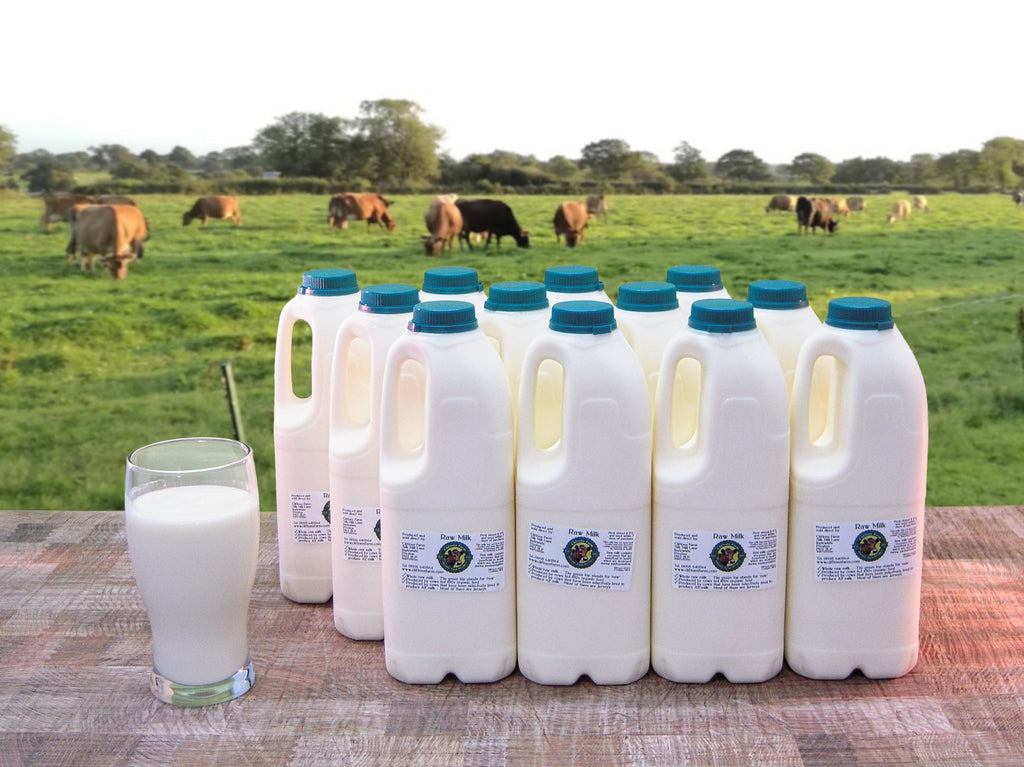 12 bottles of raw milk (24 pints / 13.64 litres) L