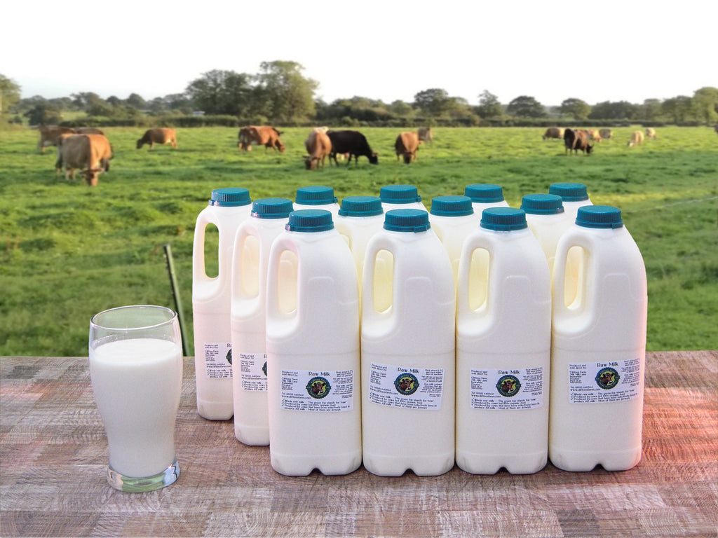 13 bottles of raw milk (26 pints / 14.77 litres) L