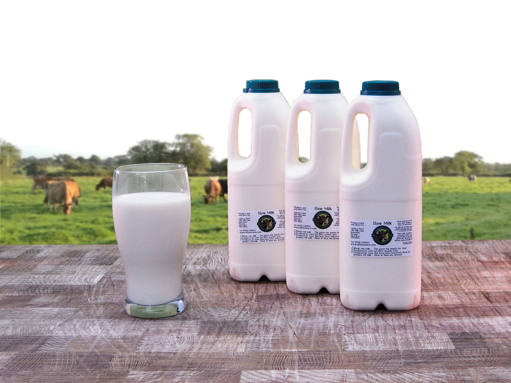 3 bottles of raw milk (6 pints / 3.41 litres)
