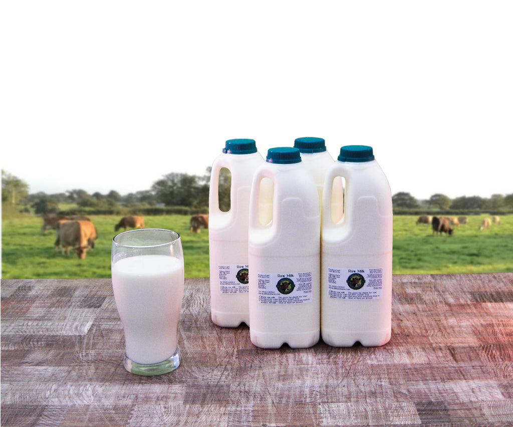 4 bottles of raw milk (8 pints / 4.55 litres)