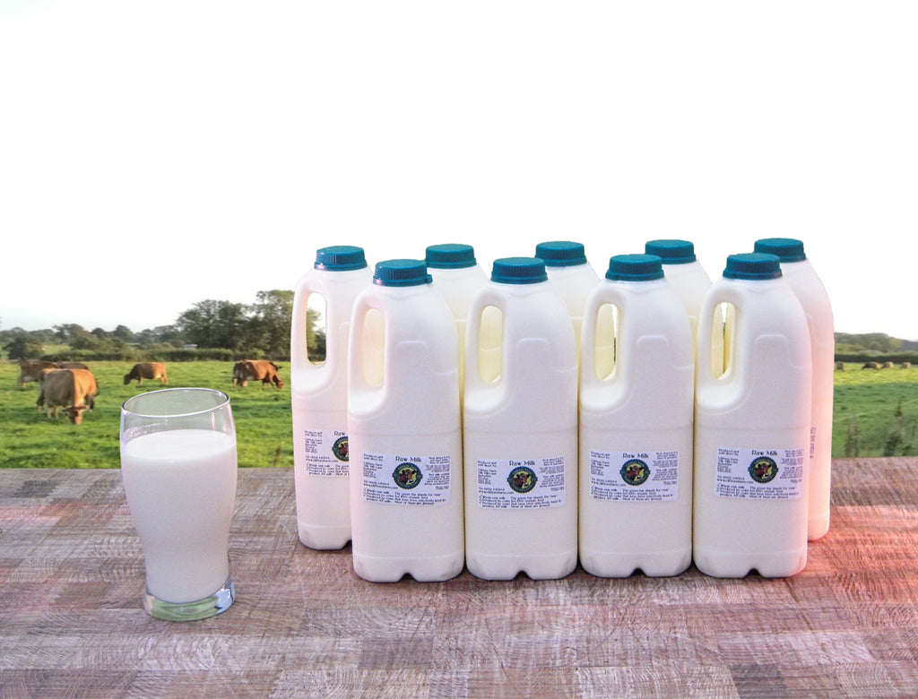 18 pints (10.23 litres) of raw milk