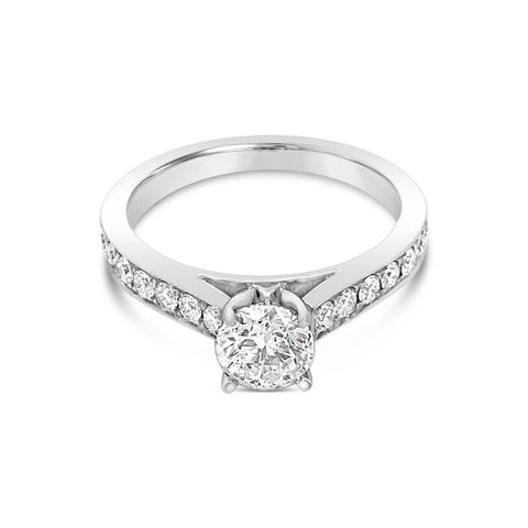 solitaire side-diamond engagement ring