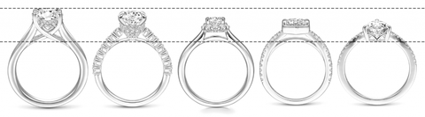 High setting or low setting diamond engagement rings