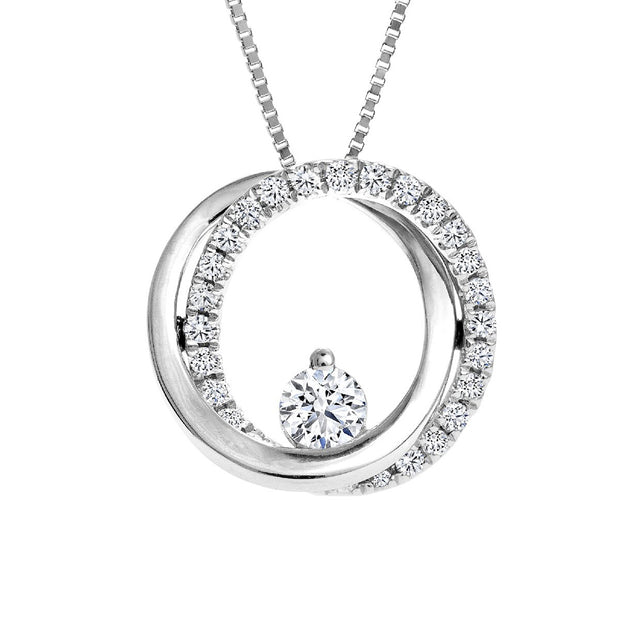 CR-P131003 - 14 K White Gold and 0.15 Ctw  Diamond Pendent