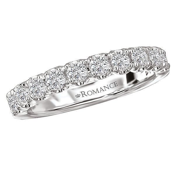 117053-WW- ROM-  18 K WG 0.6 Ct Matching Wedding Band
