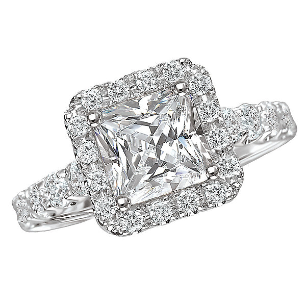 117054-150- ROM-  18 K WG 0.8 Ct Halo Semi-Mount Diamond Ring