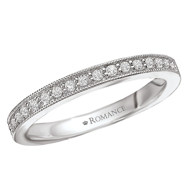 117065-W- ROM-  18 K WG 0.17 Ct Matching Wedding Band