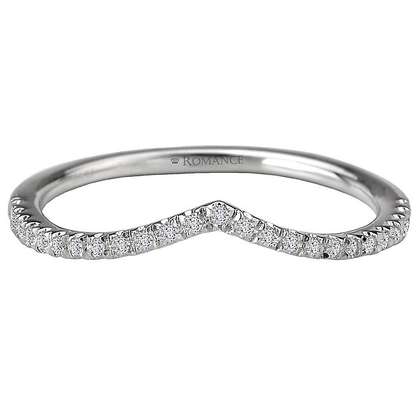 117072-W- ROM-  18 K WG 0.13 Ct Curved Wedding Band