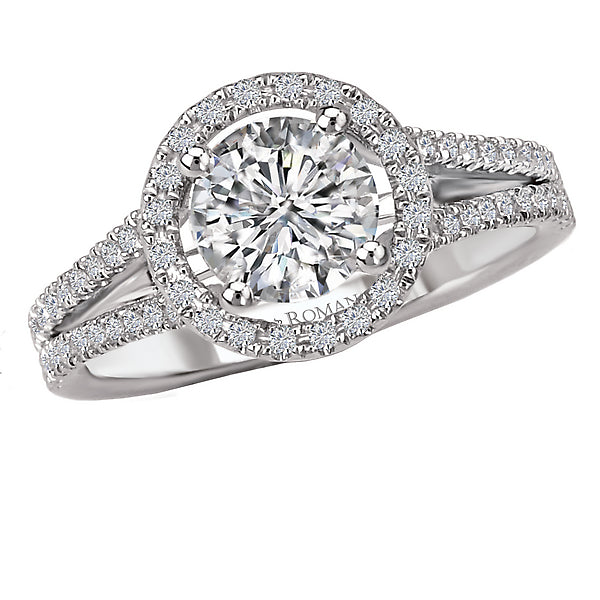 117073-050- ROM-  18 K WG 0.24 Ct Halo Semi-Mount Diamond Ring