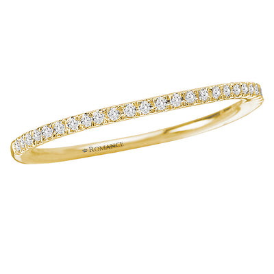 117073-WY- ROM-  18 K YG 0.1 Ct Matching Wedding Band
