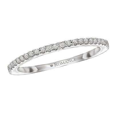 117073-W- ROM-  18 K WG 0.1 Ct Matching Wedding Band