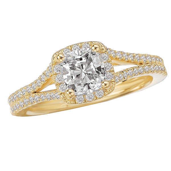 117074-100- ROM-  18 K WG 0.25 Ct Halo Semi-Mount Diamond Ring