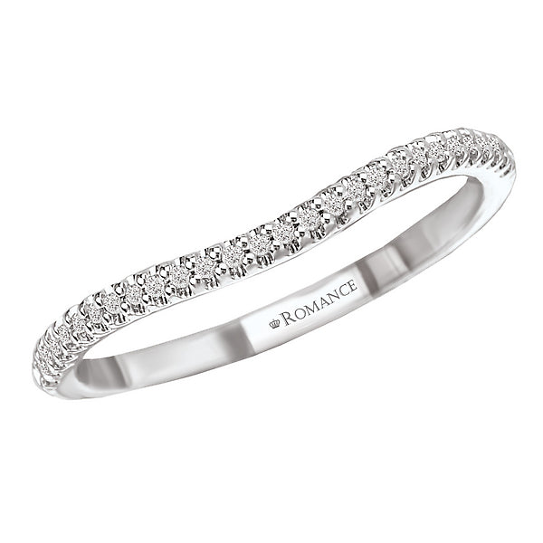 117424-W- ROM-  18 K WG 0.08 Ct Curved Wedding Band