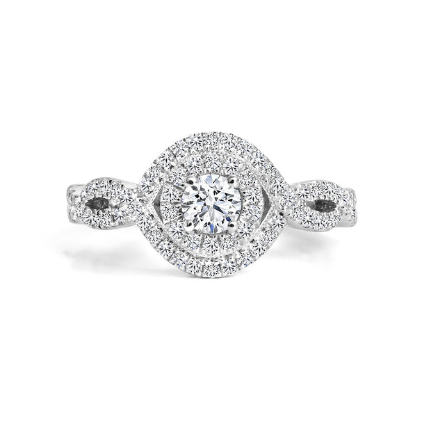 CR-R4033-23W- 14 K Gold and 0.6 Ctw Engagement Diamond Ring