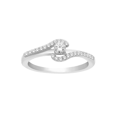 14K White Gold  0.20ctw  Fancy Diamond Ring