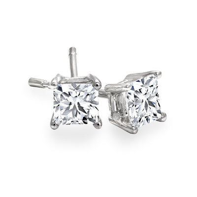 CR-E314- 14 K Gold and 0.5 Ctw Princess Diamond Earring