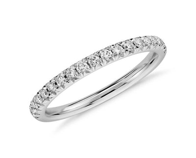 French Pave Diamond Band Made In 14K White Gold