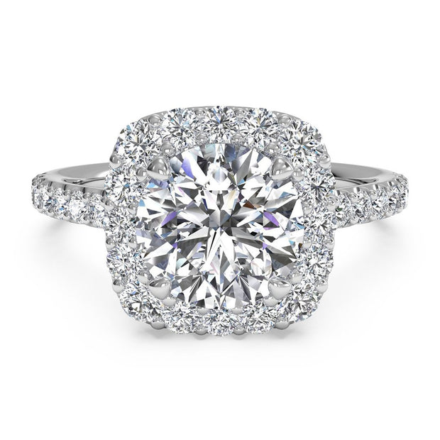 Ritani 1RZ1321 14K White Gold 0.45ctw Cushion Halo Diamond Engagement Ring | Fame Diamonds