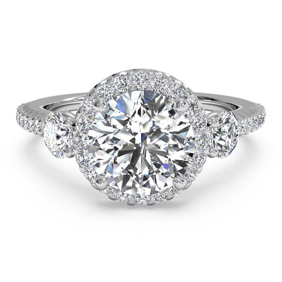 Ritani 1RZ3701 14K White Gold 0.47ctw Halo Diamond Engagement Ring | Fame Diamonds