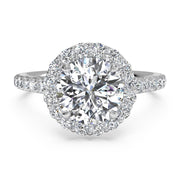 Ritani 1RZ1323 14K White Gold 0.45ctw Round Halo Diamond Engagement Ring | Fame Diamonds